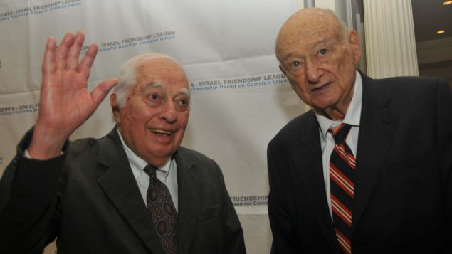 Ed Koch, 88, right, with historian Bernard Lewis at America-Israel Friendship League dinner in November, 2012.