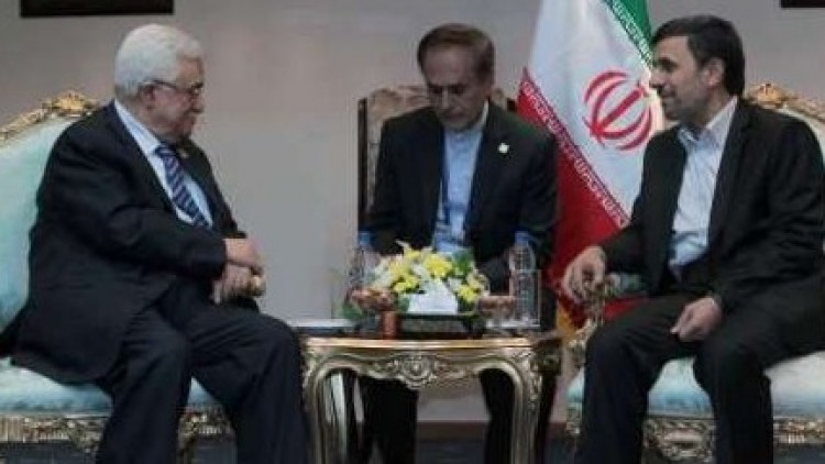Mahmoud Abbas and Mahmoud Ahmadinejad in Cairo on February 6 (photo credit: IRNA screenshot)