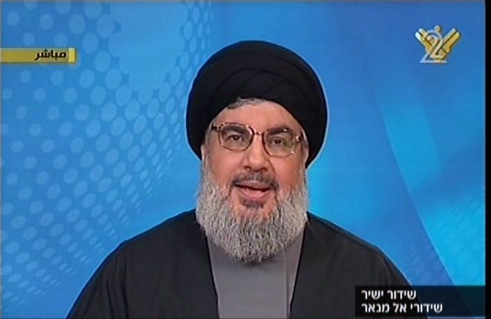 Hassan Nasrallah speaking Wednesday night. (Screenshot Channel 2/Al Manar)