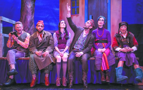 """The multicultural cast of """"The (*) Inn,"""" which runs through March 30 at the Abrons Art Center. Courtesy of Target Margin Theater"""