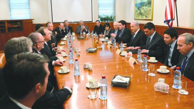 A delegation of the Council for a Secure America meeting in Jerusalem.Admon HaCohen, courtesy Council for a Secure America