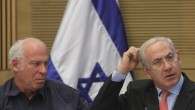 Uri Ariel (left) with Benjamin Netanyahu in the Knesset in 2012 (photo credit: Miriam Alster/Flash90)