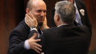 Yair Lapid (right) with Naftali Bennett during a Knesset session, March 2013 (photo credit: Isaac Harari/Flash90)