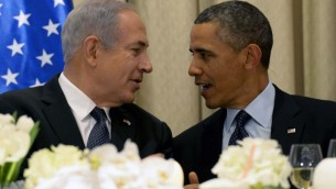 US President Barack Obama, right, talks with Prime Minister Benjamin Netanyahu at a state dinner in his honor on Thursday, at the President's Residence in Jerusalem. (photo credit: Avi Ohayon/Flash90)