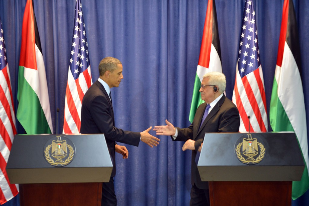 US President Barack Obama and Palestinian President Mahmoud Abbas during a joint press conference in Ramallah, on March 21, 2013. (photo credit: Issam RImawi/Flash90).