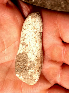 A prehistoric stone fertility object in the shape of a phallus, found on the route of a planned rail line in northern Israel (photo credit: Courtesy of the Israel Antiquities Authority)