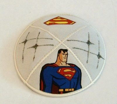 Yarmulkes decorated with trademark superhero images are common in Judaica stores and online.