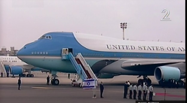Ben-Gurion Airport, as President Obama's motorcade arrives Friday (photo credit: Channel 2 screenshot)