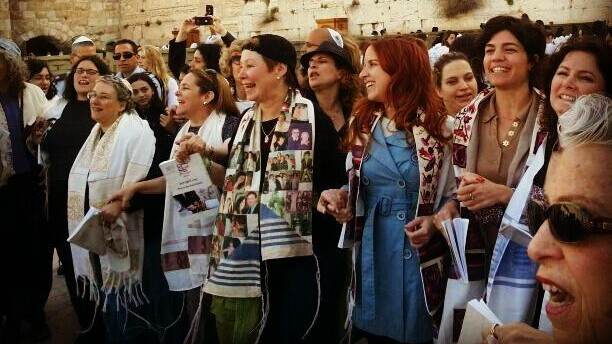 MKs Michal Rozin (center with hat), Stav Shaffir (in blue) and Tamar Zandberg with the Women of the Wall, at the Western Wall, on Tuesday March 12, 2013. (photo credit: via Stav Shaffir/Facebook)