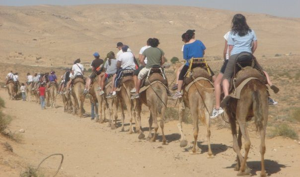 Hump day: Birthrighters on a camel ride.