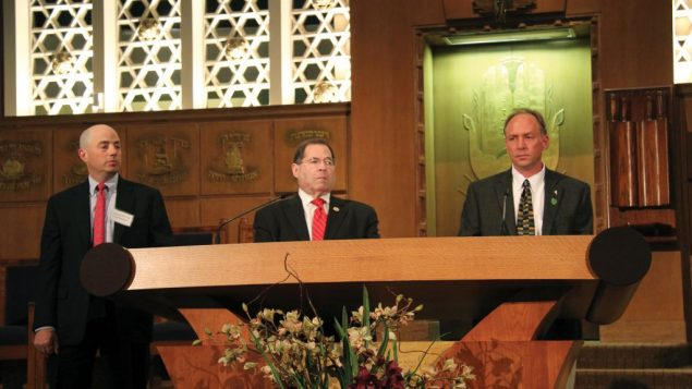 Mark Barden, whose son was killed in the Sandy Hook shootings, Rep. Jerrold Nadler and Perry Gershon. Rob Buchwald