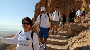 Birthright participants visiting Masada, summer 2012. (photo credit: Taglit-Birthright/JTA)