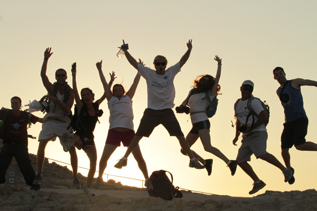 Birthright Israel participants at Masada, summer 2012. (photo credit: Courtesy Taglit-Birthright/JTA)