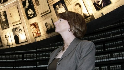 Former Australian prime minister Julia Gillard, the first Australian parliamentarian to sign the London Declaration, is photographed at the Yad Vashem Holocaust Memorial museum in Jerusalem in 2009. (photo credit: Abir Sultan/Flash90)