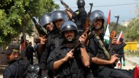 Hamas security men parade in Gaza city as they mark the fourth anniversary of Hamas' forming its first government after winning 2006 elections, April 19, 2010 (photo credit: Wissam Nassar/Flash90)