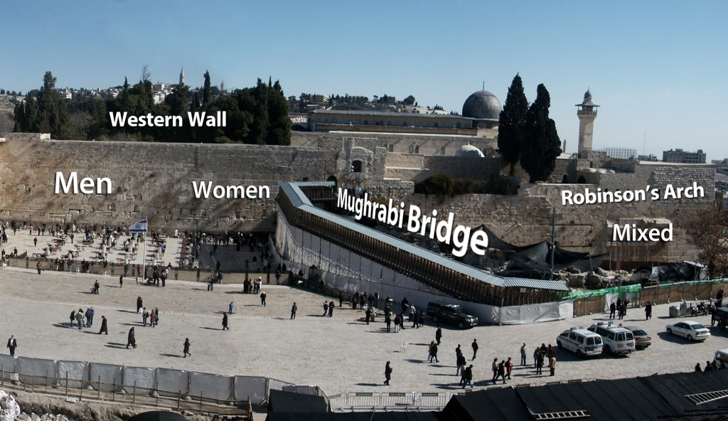 An illustration of Natan Sharansky's proposal, which will expand the Western Wall and create a permanent egalitarian space in the Robinson's Arch area. (photo credit: Creative Commons/Graphics by Uri Fintzy/JTA)