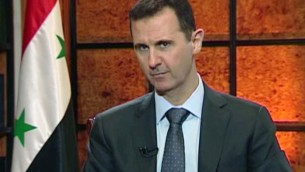 Syrian President Bashar Assad in an image from video broadcast on Syrian state television Wednesday, April 17, 2013 (photo credit: AP)