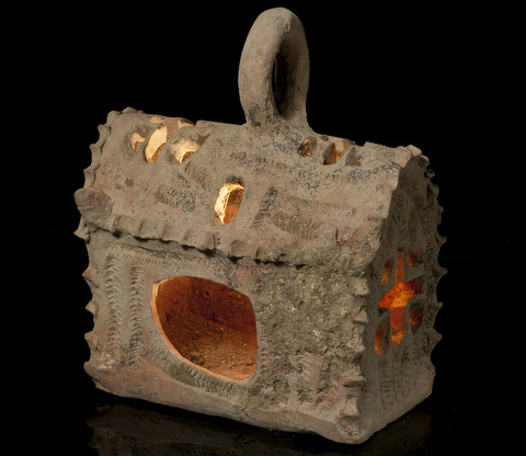 A ceramic lantern shaped like a miniature church, unearthed at Hamei Yoav in southern Israel (photo credit: Courtesy of the Israel Antiquities Authority)