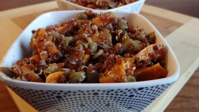 Sweet potatoes and lentils are a nice accompaniment to red quinoa. Amy Spiro