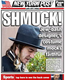 The New York Post's coverage of a peculiar Galliano wardrobe choice during Fashion Week.