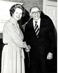 Margaret Thatcher with Menachem Begin, with whom she shared an uneasy alliance in the 1980s. Photo via thejc.com