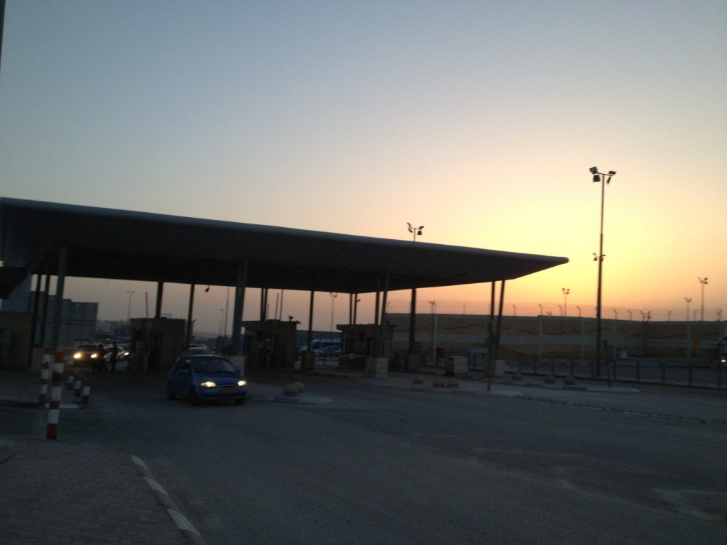 The Qalandiya crossing at dawn (photo credit: Elhanan Miller/The Times of Israel)