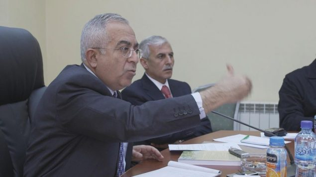 """Former PA Prime Minister Salaam Fayyad in scene from """"State 194."""""""