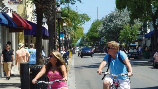 Bicycling on Duval Street, Key West's main commercial drag. Hilary Larson