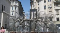 A Holocaust memorial in the shape of a weeping willow bears the names of many of nearly half a million Hungarian Jews.