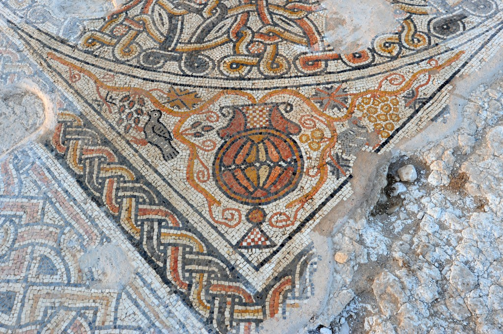 A detail of the mosaic floor of a Byzantine-era building recently unearthed in southern Israel (photo credit: Israel Antiquities Authority/Yael Yolovitch)