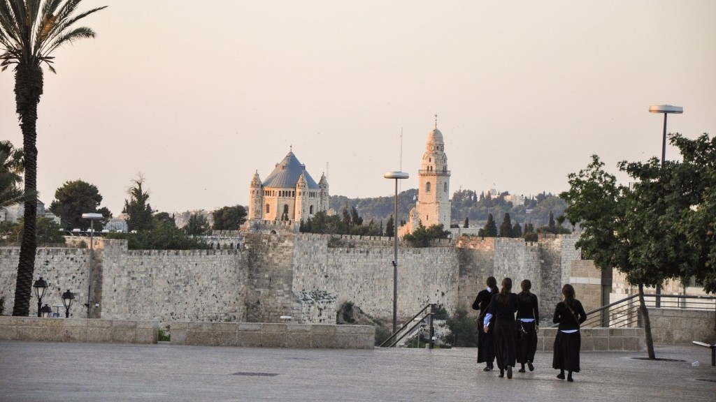 Young Haredi girls heading to the Western Wall Friday morning (photo credit: Michal Shmulovich/Times of Israel)