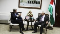 US Secretary of State John Kerry (L) with Palestinian Authority President Mahmoud Abbas in the West Bank city of Ramallah, April 7, 2013 (photo credit: Issam Rimawi/Flash90)