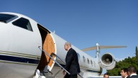 Prime Minister Benjamin Netanyahu boards a plane to Russia on Tuesday, May 14 (photo credit: Kobi Gideon/GPO/Flash90)