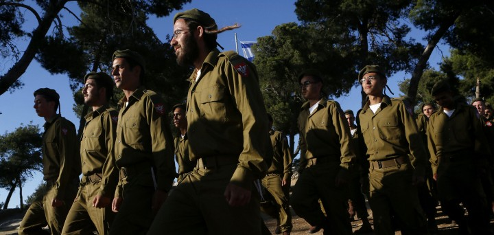 Religious Jewish soldiers attend a swearing-in ceremony on May 26, 2012. (Miriam Alster/FLASH90)