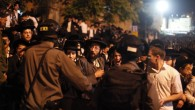 .Israeli police officers confront ultra-Orthodox demonstrators during in front of the recruiting office in Jerusalem, May 16, 2013 (photo credit: Flash90)