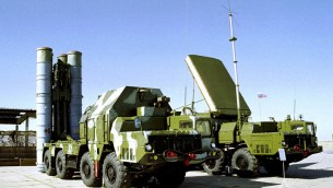 A Russian S-300 anti-aircraft missile system is on display in an undisclosed location in Russia (photo credit: AP)
