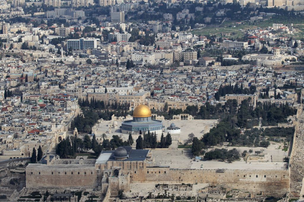 The Temple Mount, with the black-domed Al-Aqsa mosque in the foreground (photo credit: Nati Shohat/Flash90)