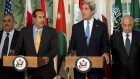 US Secretary of State John Kerry, second from right, with the Arab League lead by Qatar&#039;s Prime Minister and Foreign Minister Hamad bin Jassim bin Jabr Al-Thani, second from left, and Arab League Secretary-General Nabil Elaraby speaks to the media following their meeting at Blair House in Washington, Monday, April 29 (photo credit: AP/Manuel Balce Ceneta)