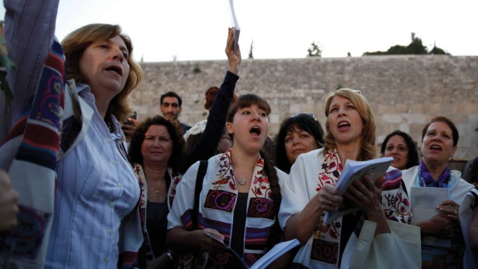 Members of Women of the Wall lift their voices in prayer. Getty Images