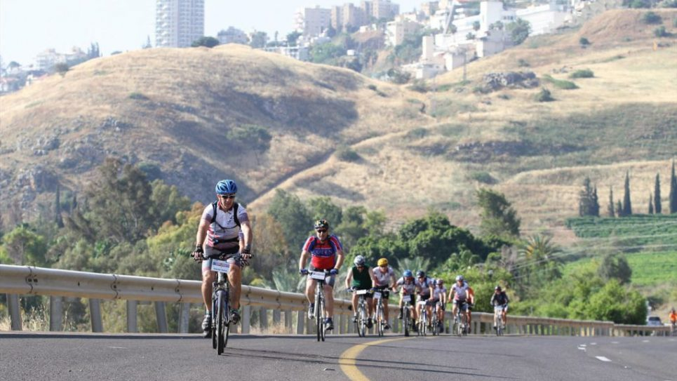 Bicycling uphill in the Negev.