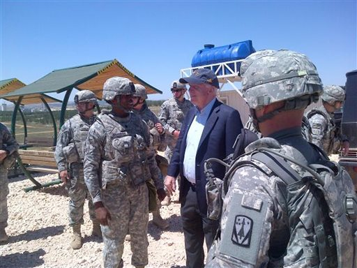 US Sen. John McCain visits troops at a Patriot missile site in southern Turkey, Monday, May 27, 2013 (photo credit: AP Photo/John McCain via Twitter)