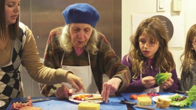 An intergenerational cooking class offered through Jewish Journey Project. Courtesy of Jewish Journey Project