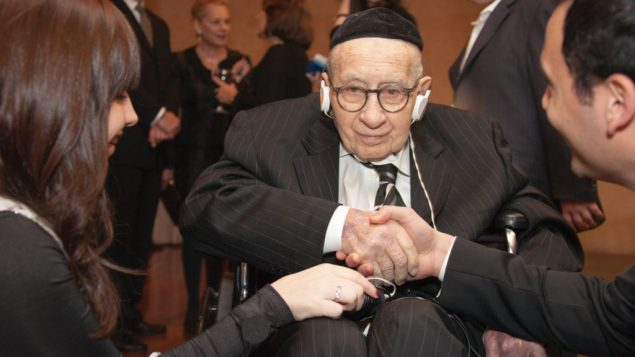 Rabbi Sidney Kleiman, in a wheelchair in recent years, marked his 100th birthday in January.