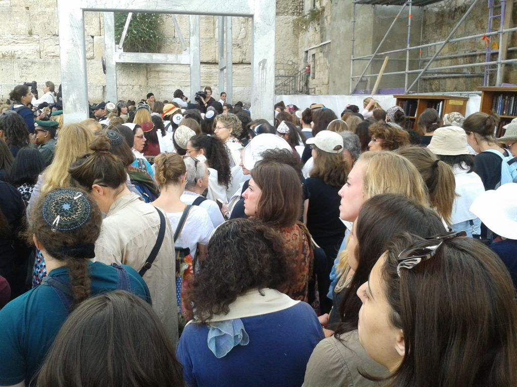 Women of the Wall pray at the Western Wall Sunday (photo credit: Ricky Ben-David/Times of Israel)