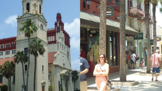 The Spanish-style Cathedral Basilica, left. Right, strolling along in St. Augustine's Old Town. Hilary Larson