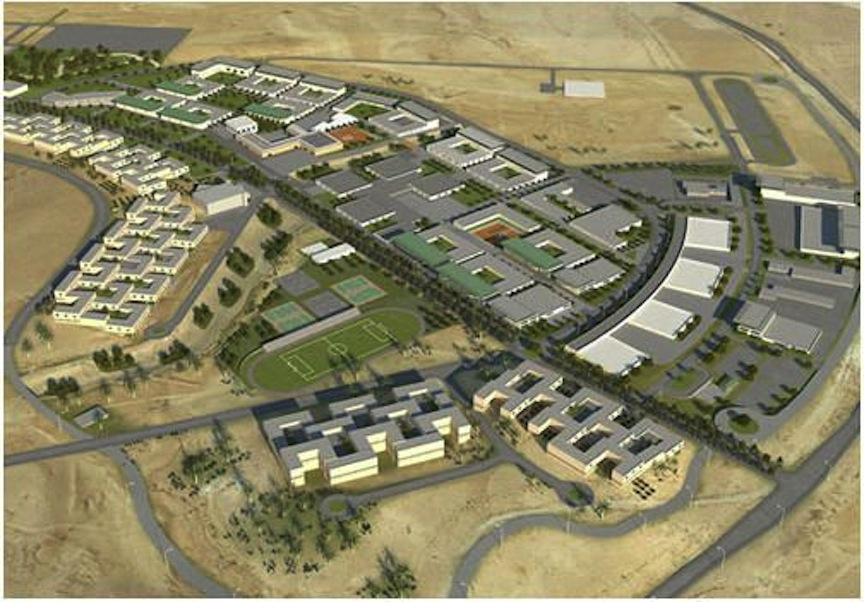 Projected aerial view of the IDF's advanced technology and training facilities near Beersheva (Courtesy: Ministry of Development for the Galilee and Negev)