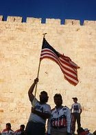 Blackburn bearing the American flag in Jerusalem, 1989. (photo credit: Courtesy)