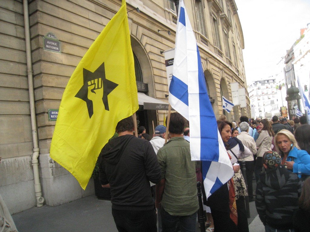 French Jewish Defense League activists demonstrate in Paris, 2011 (photo credit: Ligue de Defense Juive via JTA)