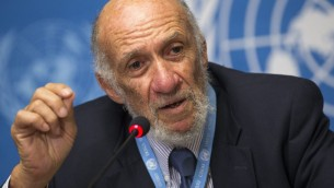 Richard Falk speaking in Geneva Tuesday.  (photo credit: AP/Keystone, Salvatore Di Nolfi)