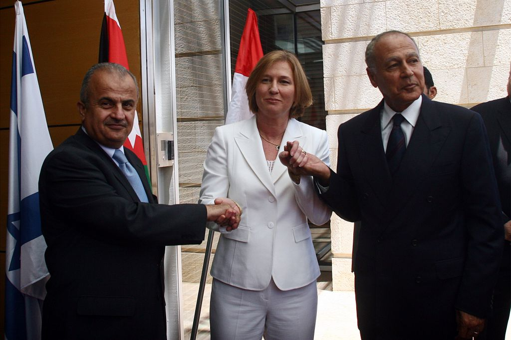 Then-Israeli Foreign Minister Tzipi Livni, Jordanian Foreign Minister Abdul-Ilah Khatib and Egyptian Foreign Minister Ahmed Aboul Gheit during a meeting, July 25 2007. (Photo by Orel Cohen/Flash90)